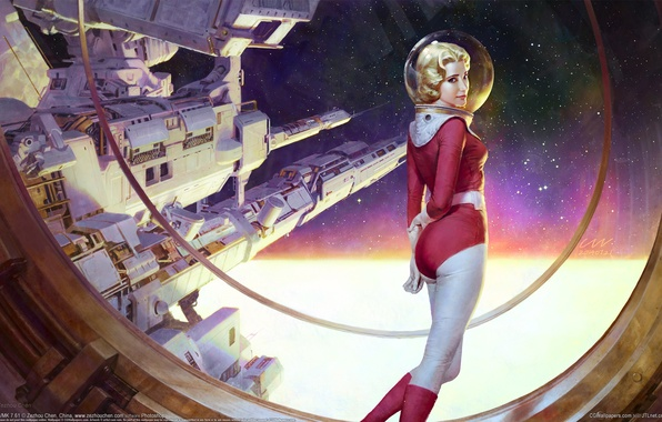 Picture girl, space, space station, starship, Zezhou Chen