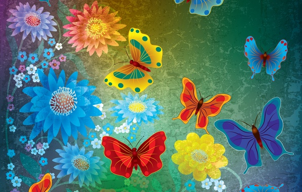 Picture butterfly, flowers, abstract, design, flowers, grunge, butterflies