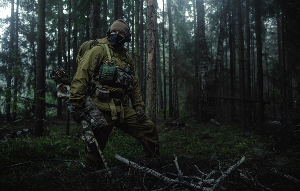 Picture forest, mask, soldiers, sniper, infantryman, sniper rifle, camouflage