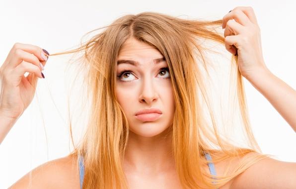 Picture hair, concern, annoyance, hair problems suppleness