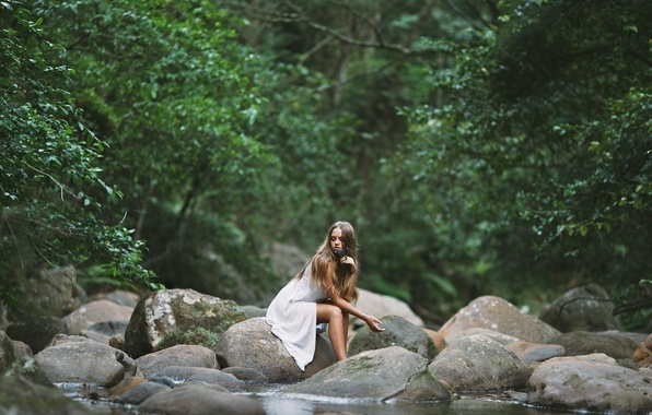 Picture Girl, Water, Alone, Wallpaper, Widescreen, Rocks, Mood, Trees, Fullscreen