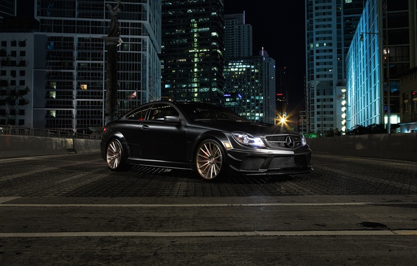 Picture the city, building, Mercedes-Benz, black, AMG, front, C63, C-Class