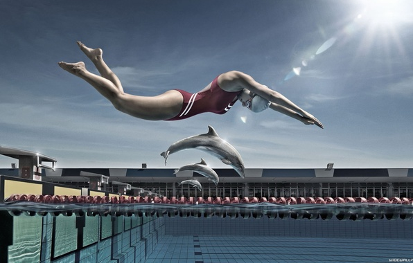 Picture girl, creative, dolphins, pool, different