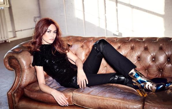 Picture look, pose, model, figure, actress, photographer, lies, blouse, Olga Kurylenko, brown hair, boots, Olga Kurylenko, …