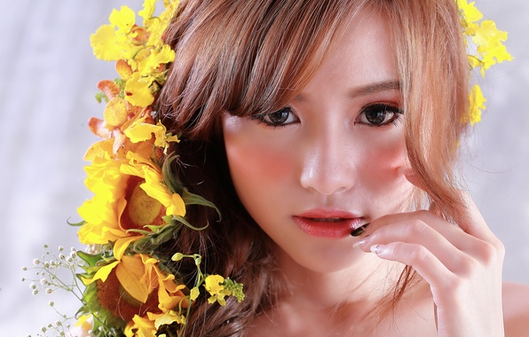 Picture look, flowers, face, hair, makeup, Asian, beauty