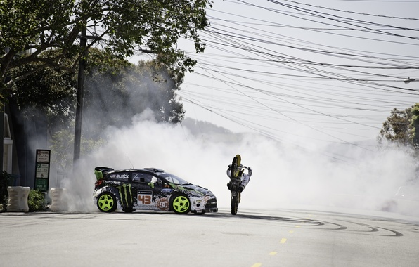 Picture Ford, Smoke, Machine, Skid, Motorcycle, Drift, Car, Ken Block, Fiesta, Ken Block