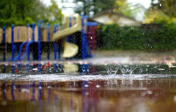 Picture autumn, macro, squirt, rain, puddles, lucydphoto, children's Playground