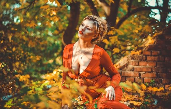 Picture autumn, leaves, girl, light, portrait, shadow, makeup, neckline, bokeh