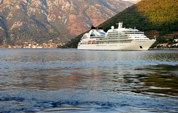 Picture sea, trees, mountains, coast, home, liner, Montenegro, cruise