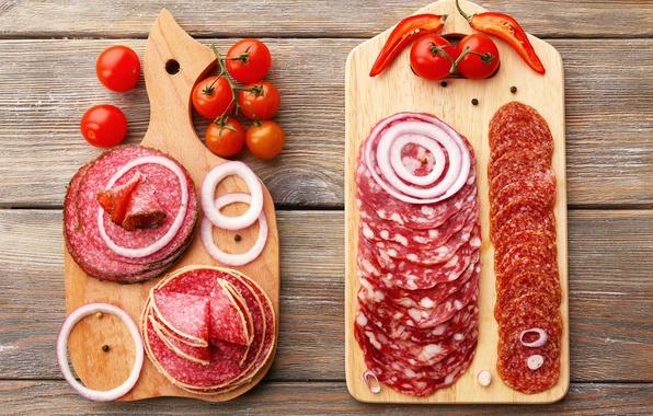 Picture bow, Board, pepper, vegetables, tomato, sausage, pepper, salami, tomato, sausage
