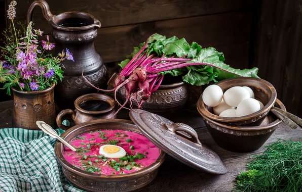 Photo wallpaper dill, flowers, still life of bowls, beets, beetroot, tops, eggs, pitcher, soup
