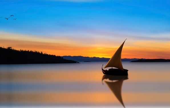 Picture reflection, boat, sail