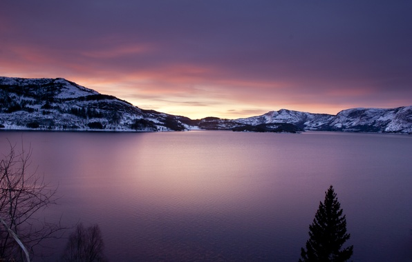 Picture the sky, water, clouds, trees, mountains, nature, lake, surface, landscapes, ate, lake