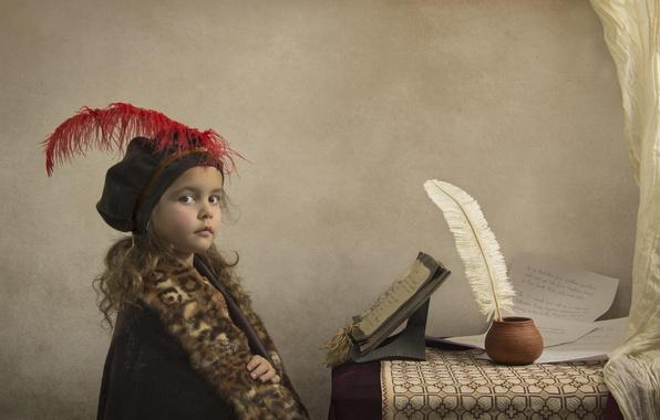 Picture pen, girl, notebook, the manuscript