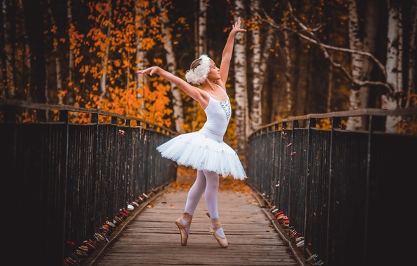 Picture autumn, girl, ballerina
