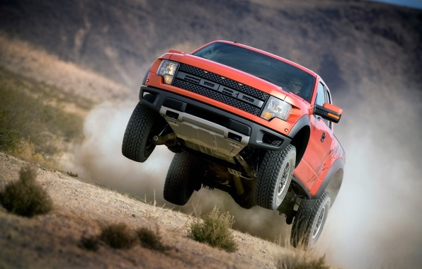 Picture grass, Ford, dust, jeep, SUV, Ford, Raptor, pickup, the front, Raptor, SVT, f-150, F-150, SVT
