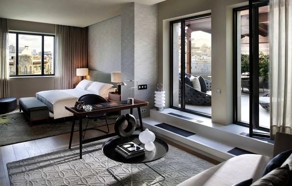 Picture white, design, style, grey, room, sofa, bed, interior, pillow, door, window, balcony, bedroom, beige, tables