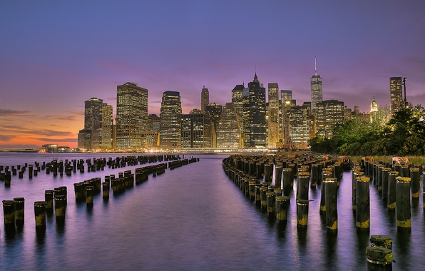 Picture the sky, sunset, the city, lights, river, shore, building, New York, skyscrapers, the evening, support, …