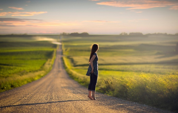 Picture road, girl, jeans, space, bokeh, barefoot