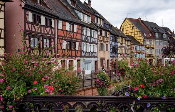 Picture the sky, flowers, bridge, France, home, Colmar, Fachwerk