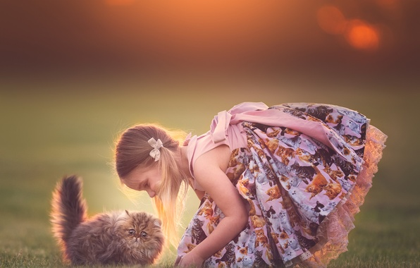 Picture girl, kitty, friends, sundress