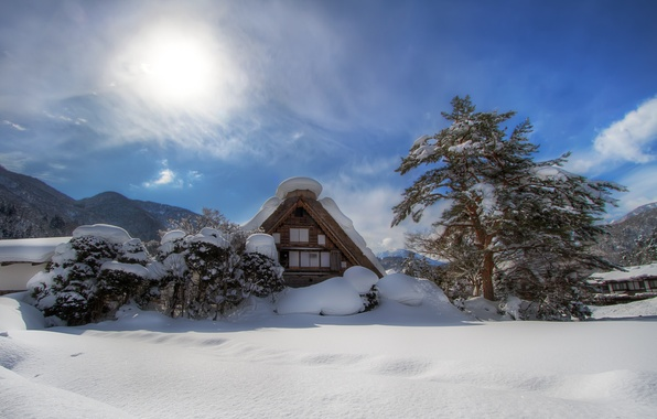 Picture winter, the sun, clouds, snow, mountains, house, tree, valley, shrub