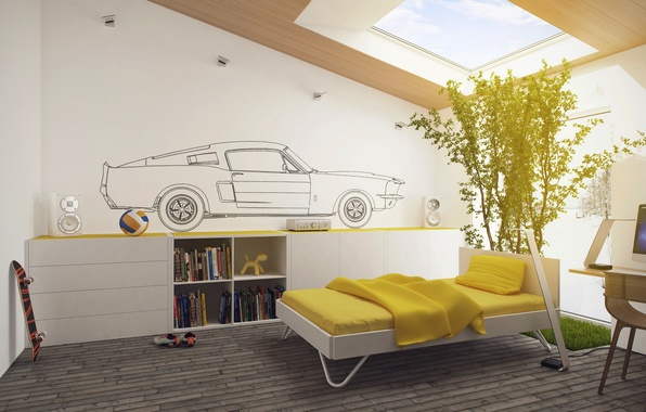 Picture design, style, room, interior, white, yellow, children's, kids room