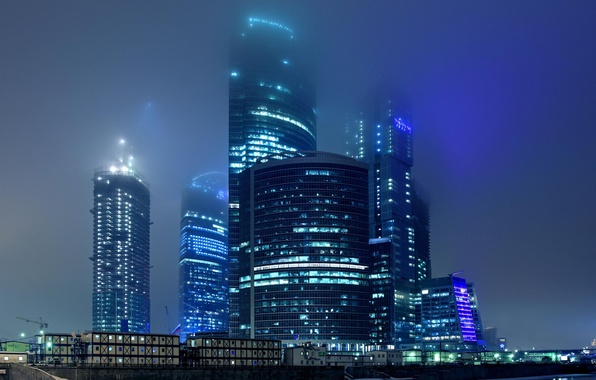 Picture night, the city, lights, fog, Moscow, skyscrapers, building, complex, business center, Moscow-City
