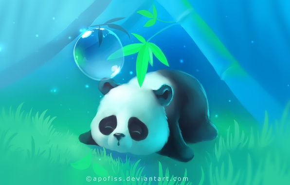 Picture grass, tree, lights, Panda, sleeping, lies, bubble, apofiss