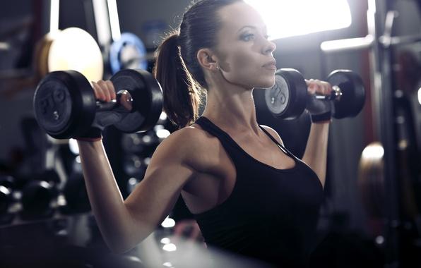 Picture brunette, workout, fitness, gym, dumbbells