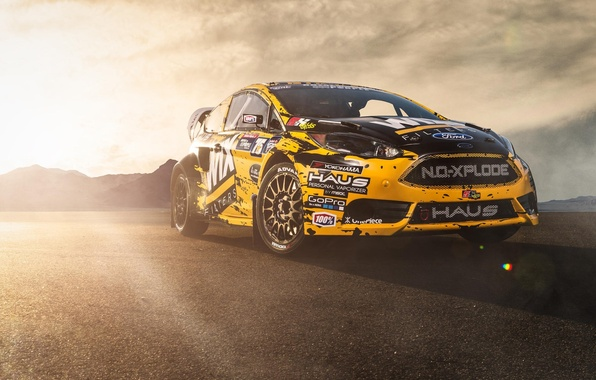 Picture the sun, Ford, Ford, Blik, yellow, rally, front, Fiesta, Fiesta, rallycross, sponsored by WIX Filters, …