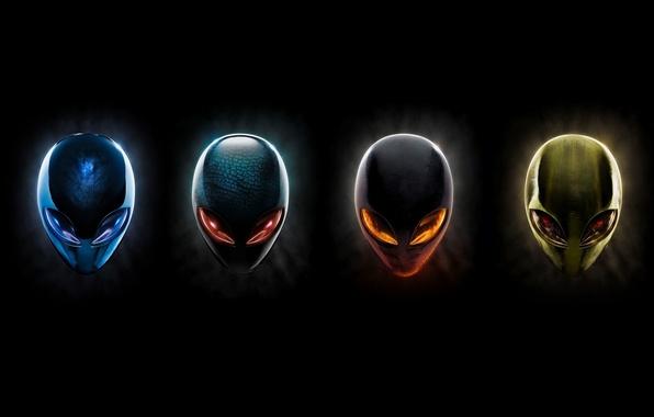 Picture eyes, the dark background, head, alienware, inoplanetyanin