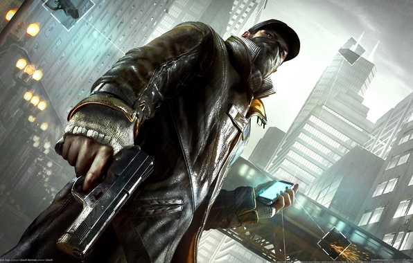 Picture The city, Gun, Camera, Phone, Link, Watch Dogs, Observations, Aiden Pearce, Watchdogs