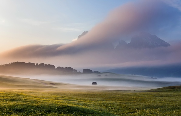 Picture field, the sky, fog, Italy, Dolomites, Alpe di Siussi