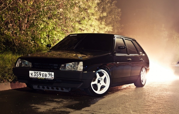 Picture Tuning, Black, Car, Car, Lada, Black, Wallpapers, Lada, 2109, Tuning, Wallpaper, Centre Side