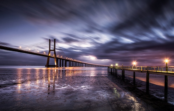 Picture the sky, clouds, bridge, lights, coast, excerpt, Portugal, in the morning, Lisbon, a pleasure, before