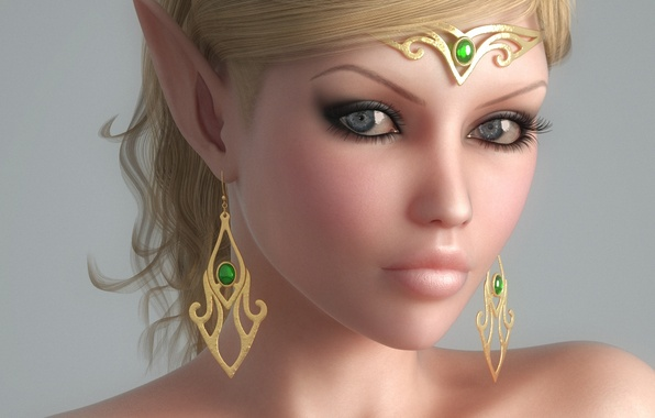 Picture girl, decoration, face, elf, earrings, elf, ears, Diadema