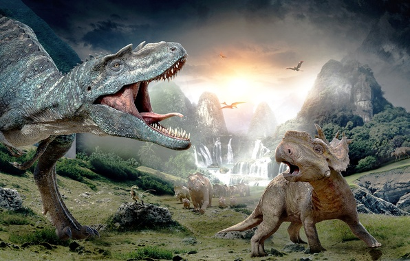 Picture mountains, rocks, waterfall, dinosaur, predator, valley, baby, ferns, Tyrannosaurus, dinosaur, T-Rex, Tyrannosaurus Rex, Protoceratops, Patches, …