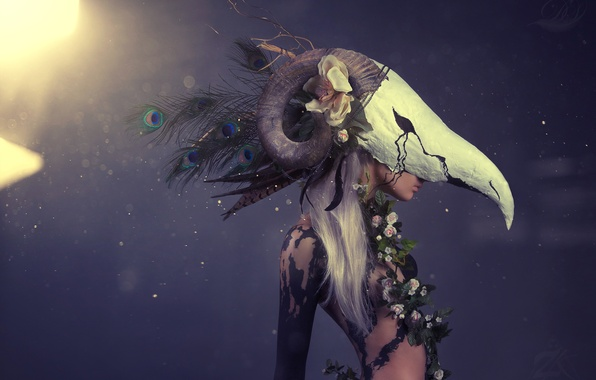 Picture girl, flowers, skull, feathers, mask, horns, peacock