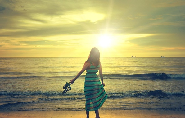 Picture wave, beach, the sky, the sun, clouds, Girl, dress