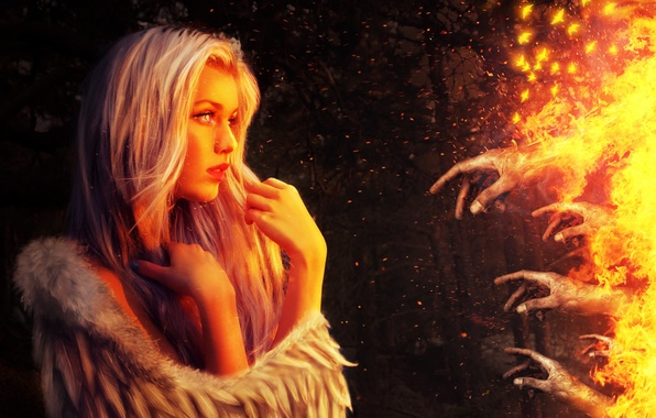 Picture girl, fiction, fire, wings, angel, hands, art