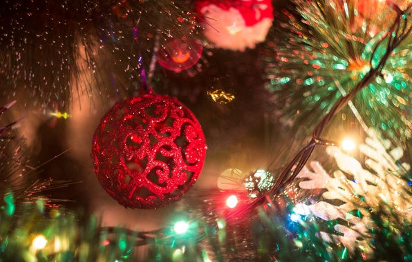 Picture Wallpaper, toys, tree, new year, ball, spruce, ball, garland, balls. red