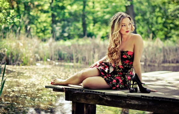 Picture forest, feet, hair, shoes, dress, lips, pierce, forest, dress, legs, lips, hair, pier, shoes