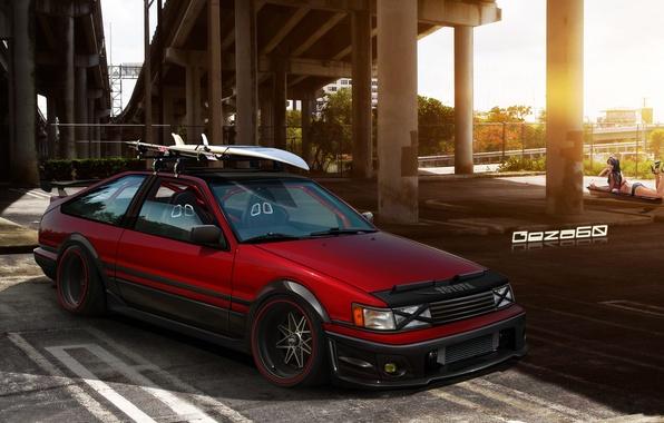 Picture girl, bridge, Parking, Toyota Corolla AE86
