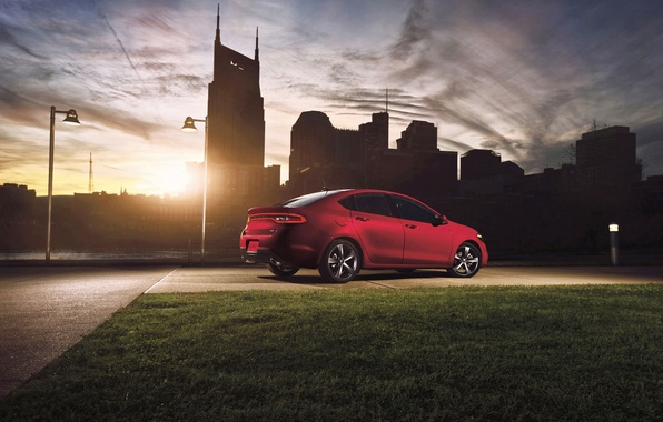 Picture Sunset, The sun, Red, The evening, The city, Machine, Dodge, Lawn, Dart-GT