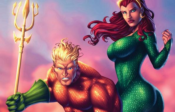Picture ass, chest, girl, fiction, red, ass, art, dc comics, Aquaman, mera, Queen of Atlantis