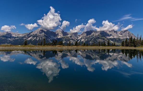 Picture clouds, mountains, lake, reflection, Austria, Alps, Austria, Alps, Tyrol, Tirol, Wilder Kaiser, Kaiser Mountains, the ...