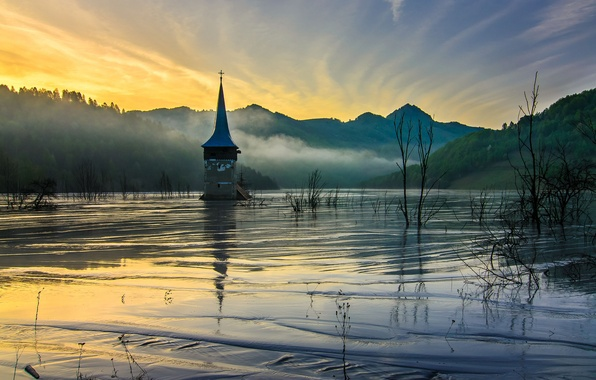 Picture mountains, fog, dawn, spring, morning, Church, lowland, flooded
