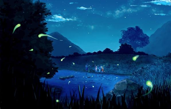 Picture stars, clouds, trees, mountains, night, nature, lake, anime, team, Naruto, friends, Sakura Haruno, Uchiha Sasuke, …
