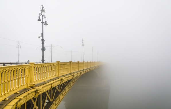 Photo wallpaper fog, Budapest, Margaret Bridge